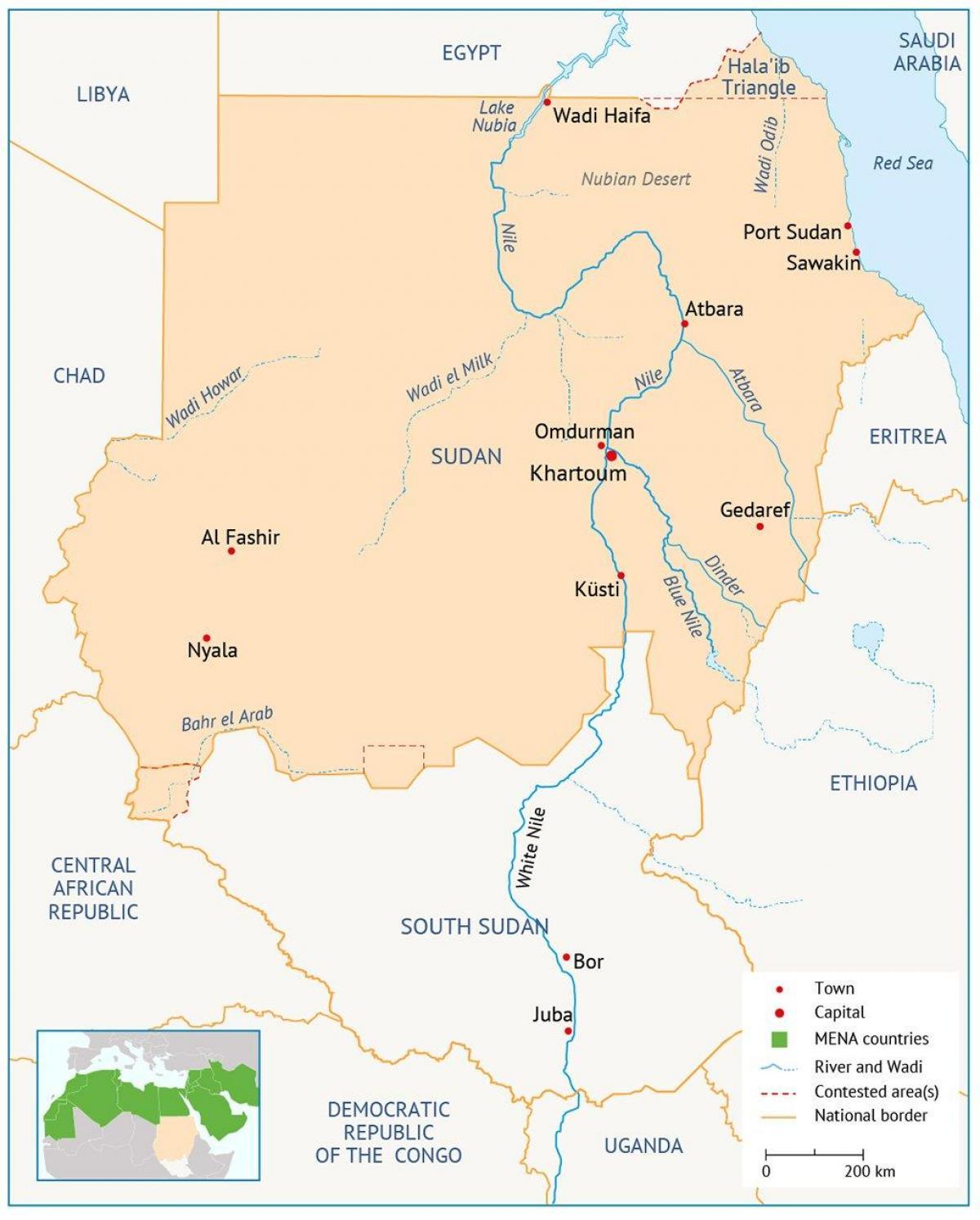 Sudan Reky Mapa Mapa Sudanu Reky Severni Afrika Afrika